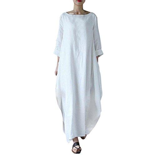 feiXIANG Vestito da donna, Abito Abiti Vestito da Matrimonio damigella d'onore di cerimonia nuziale Gonna solido cotone larghi grandi oversize vestito maxi Dress Abito Cotone (Bianco, XL)