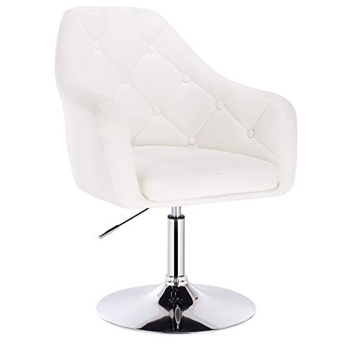 Woltu® poltroncina da bar bianca nera grigia sedia da scrivania girevole regolabile sgabello cucina poltrona con schienale braccioli moderno