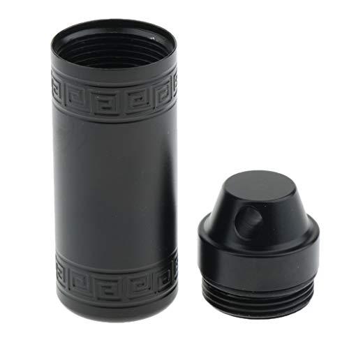 Baoblaze Aluminium Pillendose Rund Tablettendose Reise Aufbewahrungsbox, viele Farbe Auswahl - Schwarz S