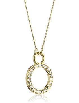 Pilgrim Jewelry Damen-Halskette mit Anhänger aus der Serie Classic vergoldet weiß 2 in 1; 45 + 90 cm cm 611312011