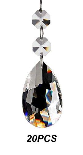 Fushing 20Pcs Kristall Teardrop Kronleuchter Prisms Anhänger Teile Beads (38mm)