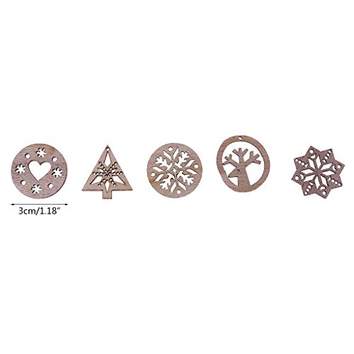 50 Pieces Snowflake & Heart & Tree Shaped Wooden Embellishments Wood Crafts Wedding Table Scatter Home Decoration