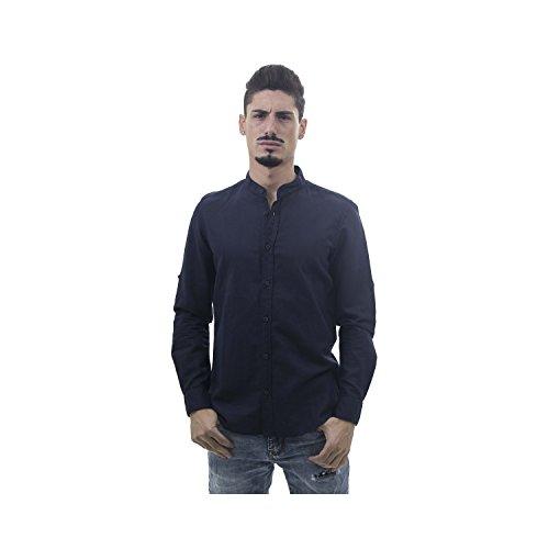 Montoro abbigliamento camicia da uomo a maniche lunghe misto lino con collo alla coreana