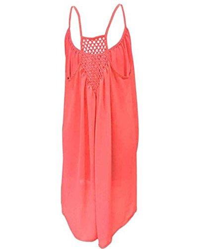EAAMU® Damen Frauen Sommer Ärmellos Neckholder Chiffon Kleider Sommerkleid Strandkleid Lose Minikleid Partykleider Cocktailkleider Rot