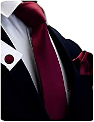 """GUSLESON Brand New 3.15""""(8cm)Solid Color Necktie and Pocket Square Cufflinks Sets For Men + Gif"""