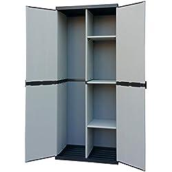 Adventa, Armoire Porte-balais en résine 2 Portes, étagères réglables (intérieur/extérieur), Gris Noir, 68 x 39,5 x 168