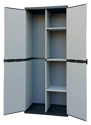 Adventa - Armario escobero de Resina con 2 Puertas, estantes Regulables (Interior/Exterior), Gris...