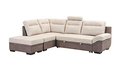 Canapé d'angle Gauche Convertible lit Bicolore Beige/Taupe - Pouf Coffre Amovible - Tissu Doux suédine - Design Classique - LOUXOR