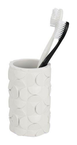 WENKO 19414100 Zahnputzbecher Structure White, Kunststoff - Polyresin, 6.8 x 11 x 6.8 cm, Weiß