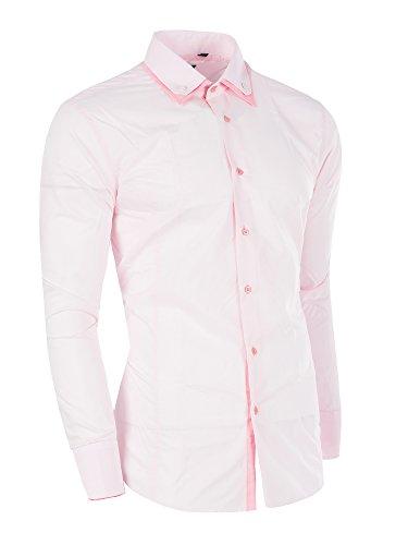 M467 JEAN BLUE Herren Slim Fit Polo Club Shirt Hemd Langarm Figurbetont Clubwear Rosa