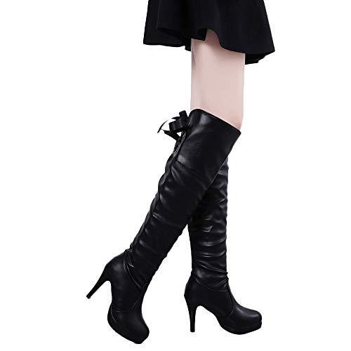 Geili Damen Overknees Stiefel mit Pfennigabsatz Frauen Elegante Langschaft Plateau High Boots Winterschuhe High Heels Lederstiefel Stöckelschuh Hohe Schnürstiefel Abendschuhe