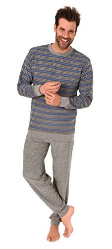 Herren Frottee Pyjama Schlafanzug Langarm mit Bündchen in Streifenoptik - 281 101 93 005, Größe2:58, Farbe:grau-Melange