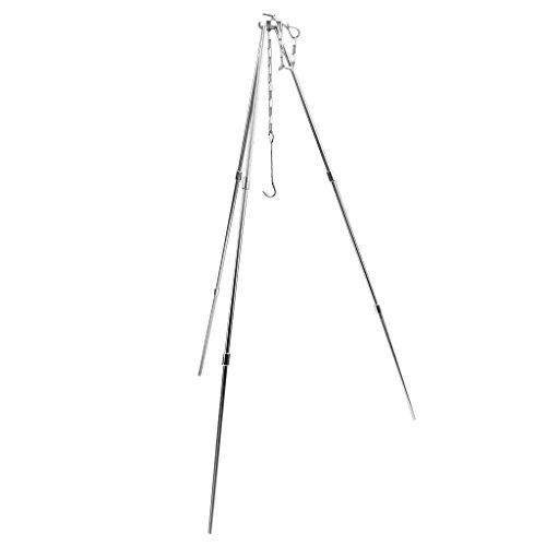 MagiDeal Dreibein Gestell für Gulaschkessel und Schwenkgrill mit Kettenhöhenverstellung Camping Picknick Grill Aufhänger