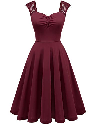 YOYAKER Damen Vintage Retro Spitzen Kurzarm Trägerkleid Casual Freizeitkleider Ball Party Abendkleider Burgundy XS