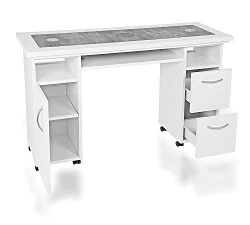 Manikürtisch, Nageltisch, Studiotisch mit Absaugung SA-10, Betonoptik DR-17-2