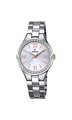 Festina MADEMOISELLE Women's Quartz Watch with Silver Dial Analogue Display and Silver Stainless Steel Bracelet F16916/1