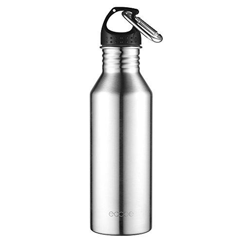 Ecooe 780ml/27.46oz Edelstahl Trinkflasche Wasserflasche mit Aluminiumkarabiner