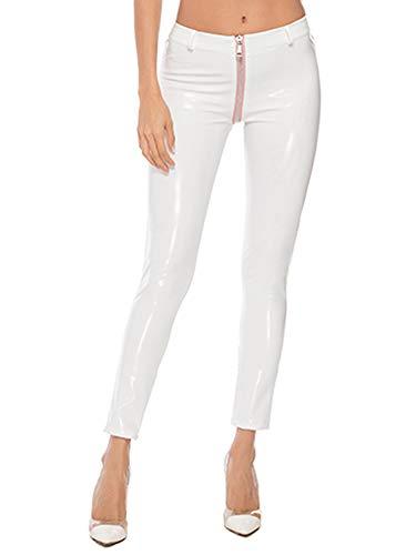 HAINE Leggings in Lackleder für Frauen mit offenem Schritt und Reißverschluss (Weiß-L) -
