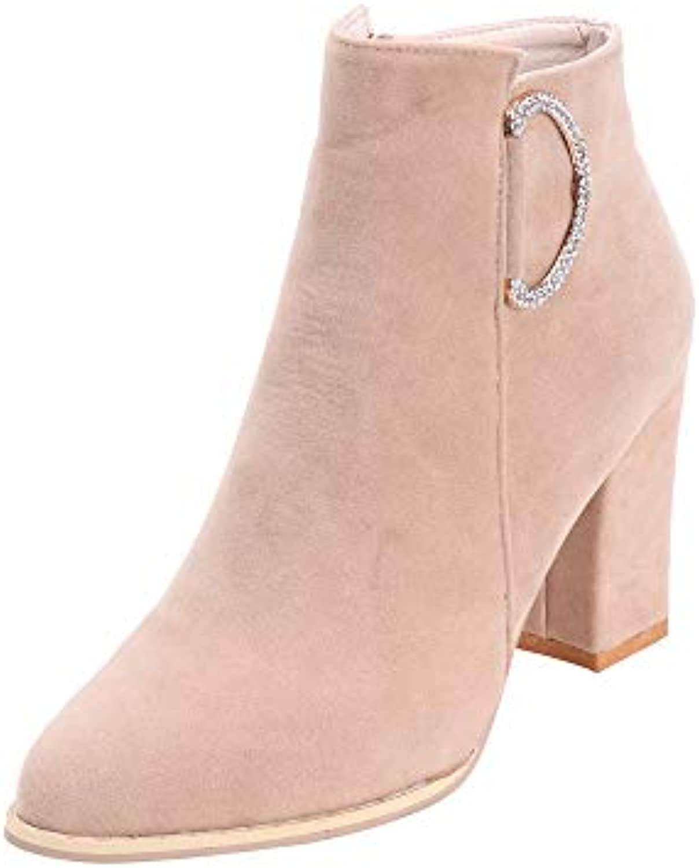 rawdah l'automne et l'hiver femmes femmes femmes côté fermeture d'épaisseur block talon martin bottes mode femme orteil élastique... 97436e