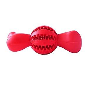 POPETPOP Balle de Nettoyage à mâcher pour Dents d'animal Domestique Brosse à Dents Fuite de Nourriture Dents Bâton de Nettoyage Outil d'entraînement pour Animaux de Compagnie Grande Taille (Rouge)