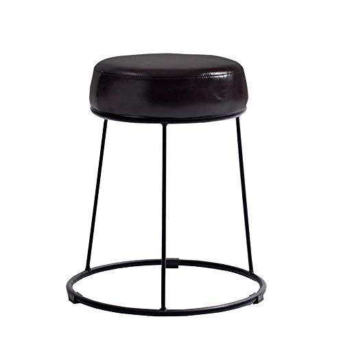 Land Möbel Lagerung (Eisen-runder Schemel-Make-upschemel-Lederimitat-Kissen-stapelbare Lagerung, Kunstleder-Ausgangsspeisetisch Plus Schemel-Café-Stab-stapelbarer speisender Stuhl KADJ (Color : Dark Coffee))