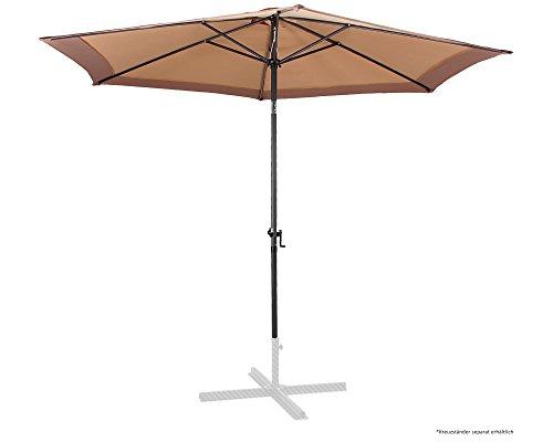 Ondis24 Marktschirm 3 Meter Sonnenschutz Sonnenschirm 300 cm rund mit Kurbel, UV 50, zweifarbig, Braun
