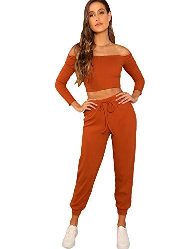 Verdusa Damen 2-teiliges Outfit-Set mit Top, Kordelzug und Frottee-Hose - Braun - Groß -