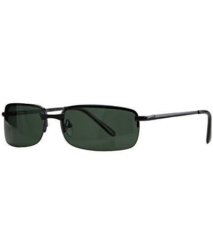 Caripe sportliche Sonnenbrille Herren rechteckig rahmenlos verspiegelt - herso (One Size, 016 - schwarz - grün polarisiert)