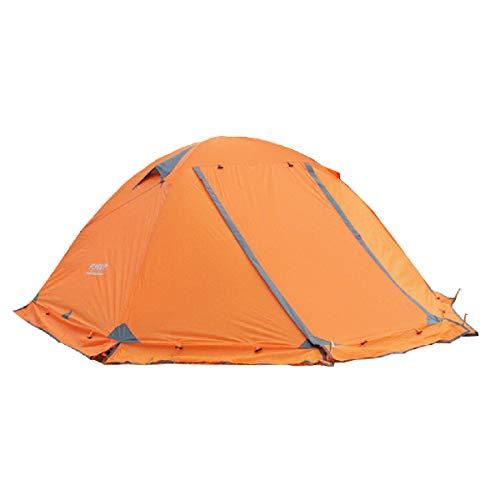 Azarxis 1-3 Personen Ultraleicht Zelt, 4 Saison Wasserdicht Zelt Double Layer für Outdoor Camping Wandern (Orange - mit Rock Edge - 3 Person) -