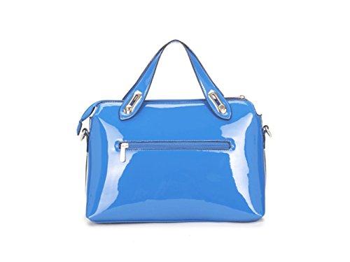 LeahWard® Damen Patent nett Taschen Tote Schultertaschen Handtasche CWKP9300 blau 33 x 13.5 x 21 cm