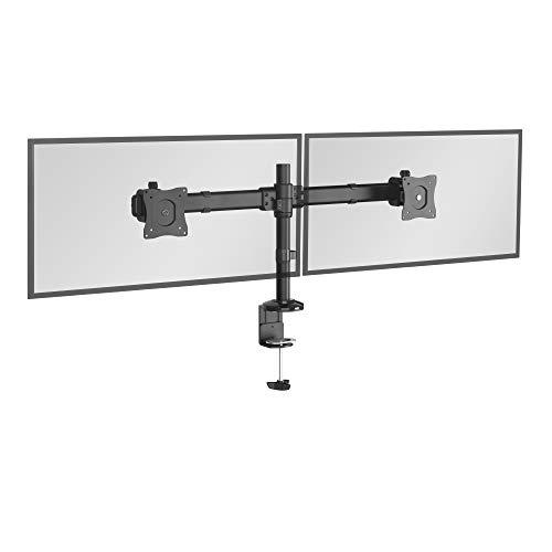 RICOO Monitor Tischhalterung für 2 Monitore Monitorhalterung TS6211 Monitorständer Schwenkbar Neigbar Höhenverstellbar Schreibtisch Bildschirmständer Monitorhalterungen VESA 75x75 100x100 Schwarz - Led-aluminium-montage-kanal
