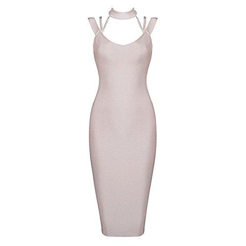 HLBandage Halter Neck Cut Out Backless Midi-calf Rayon Bandage Dress Rosa