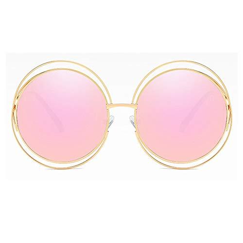 BlueAurora Frauen runde Sonnenbrille, stilvolle UV400 Metallrahmen Sonnenbrille für Damen Alltag und Freizeit,Pink1