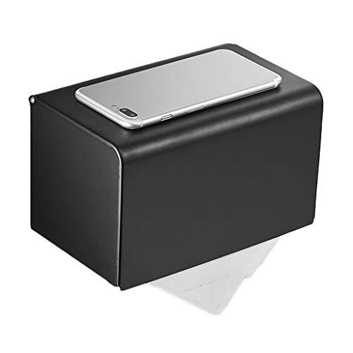 Preisvergleich Produktbild ZH Badezimmer-Wand-Toilettenpapierhalter wasserdicht rostfrei mit Telefonablage Regalraum Aluminium Bohrrollenhalter Papierfach,  schwarz (größe : 20x12cm)