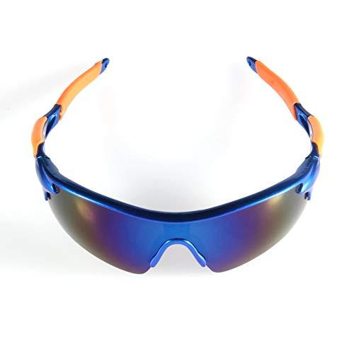Sen-Sen Outdoor-Sport Radfahren Fahrrad Fahren Sonnenbrillen Brillen Goggle UV400 Objektiv Blaue Linse + blau & orange Rahmen