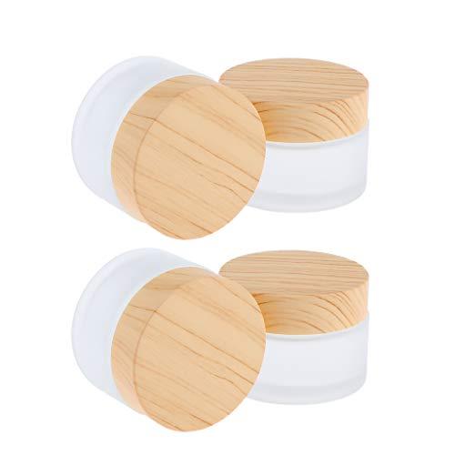 B Blesiya 4 Stück 50g Glas-Tiegel Leere Creme Glas-Dose, Salbentiegel, Kosmetik-Dose Kosmetik Behälter mit Holz Schraubdeckel