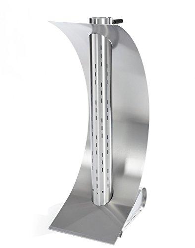 *Edle Design-Feuerstelle für Garten und Terrsasse – Moderne Feuersäule aus hochwertigem Edelstahl, Feuersegel 42 x 34 x 96 cm*