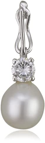 Perldesign High Lustre White 7.5-8.0 mm Oval Freshwater Pearl and Cubic Zirconia Silver Pendant