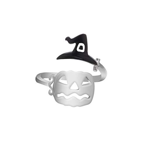 L_shop Kreative Cartoon-Hexe Hut Besen Ring Mode Hohl Finger Öffnen Ring Niedlichen Schmuck Für Halloween, Schwarz Hexenhut Kürbis Gesicht