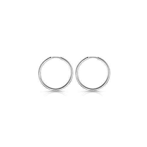 Amberta® Cerchi In Argento Sterling 925 Con Gancetto - Orecchini Creoli Sleeper A Cerchio - Diametro: 20 30 40 60 80 mm (20mm)