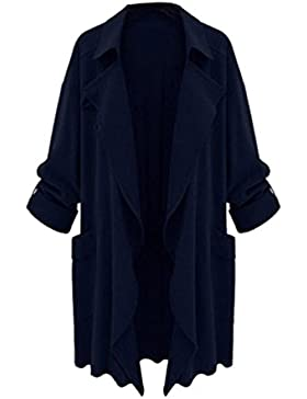 ZKOO Mujer Primavera Y Otoño Talla Grande Trench Coat Suelto Casual Cardigan Abrigo
