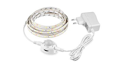 Tira luz led blanco calido con enchufe y sensor de movimiento 3 m bajo camas, cunas, escaleras, armarios vestidores pasillos zapateros caravanas de CHIPYHOME