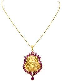 JFL - Traditional Ethnic Temple Goddess Laxmi One Gram Gold Plated American Diamond Ruby Designer Pendant Set...