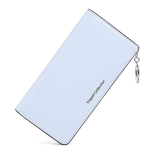 Damen Brieftasche Sieben-Zeichen Reißverschluss Multi-Card-Handtasche Halogen blau
