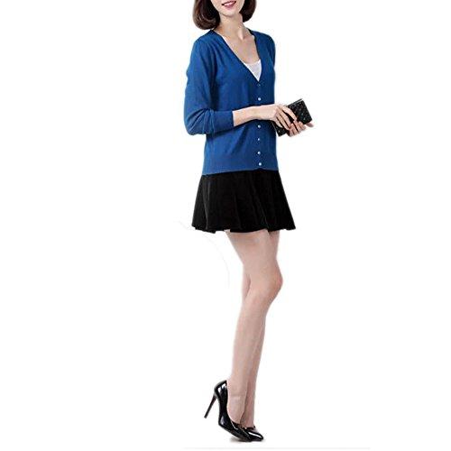 Basic Cardigan V-Ausschnitt Kaschmir-Wolle Blended Feine Buttoned Uni Größen S-XXXL Dunkel Blau