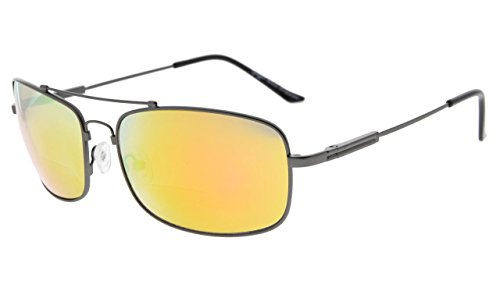 Eyekepper Bifokal Sonnenbrille mit biegsamer Brücke und Bügel Erinnerung Lesen Sonnenbrille Leicht Titan (Gunmetal Rahmen Orange Spiegel, 2.00)