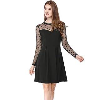 Allegra K Women's Mesh See Through Sheer Skater Party Dress M Black