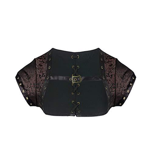 AMURAO Frauen Steampunk Bustiers Sommer Kurzarm Gothic Korsett Stickerei Polyester Top mit Schnürsenkel - Dobby Kurzarm-shirt