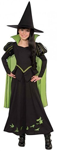 Zauberer Outfit (Mädchen Offiziell Lizenziert Zauberer von Oz Böse Hexe Halloween Büchertag Kostüm Kleid Outfit 3 - 10 jahre - Schwarz - Schwarz, Mädchen, EU 128-140,)