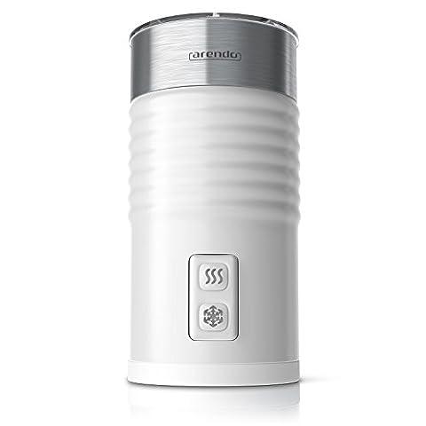 Arendo - Milchaufschäumer automatisch | milk frother | Neues Modell 2017 / STRIX Controller | 2-Tasten für Warm- und Kaltaufschäumen | Überhitzungsschutz durch automatische Abschaltfunktion | 365-435W | antihaftbeschichtet | 360° Basisstation | weiß
